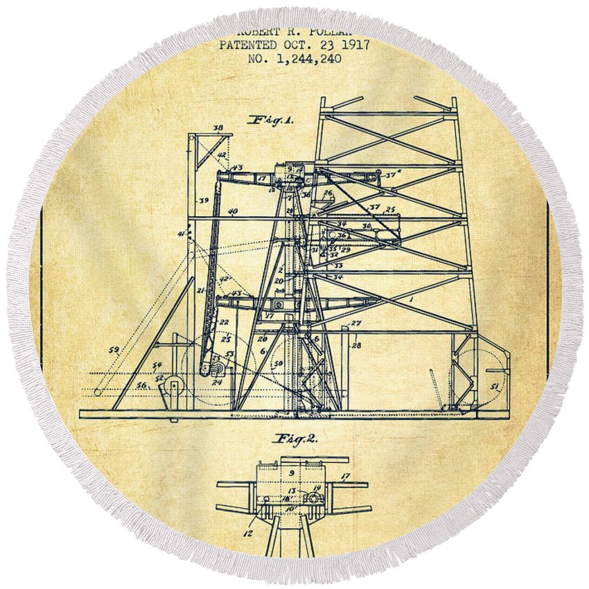 Oil Round Beach Towel featuring the digital art Oil Well Rig Patent From 1917- Vintage by Aged Pixel