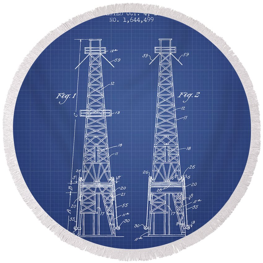 Oil Round Beach Towel featuring the digital art Oil Well Rig Patent From 1927 - Blueprint by Aged Pixel