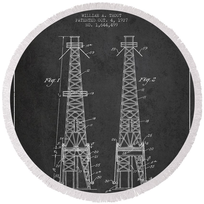 Oil Round Beach Towel featuring the digital art Oil Well Rig Patent From 1927 - Dark by Aged Pixel