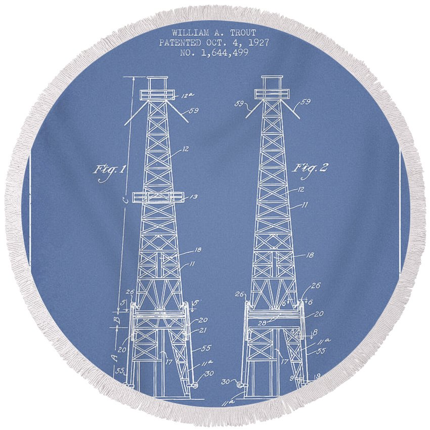 Oil Round Beach Towel featuring the digital art Oil Well Rig Patent From 1927 - Light Blue by Aged Pixel