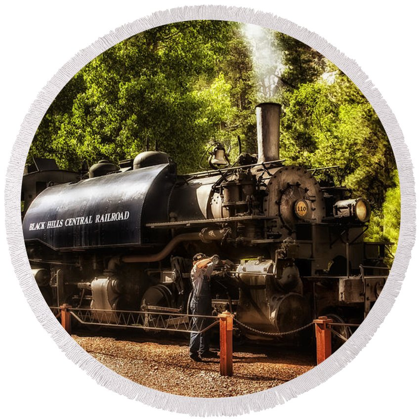 Black Hills Central Railroad Round Beach Towel featuring the photograph Oiling The 110 by Mary Jo Allen
