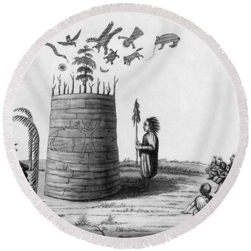 1855 Round Beach Towel featuring the photograph Ojibwa Medicine Man - To License For Professional Use Visit Granger.com by Granger