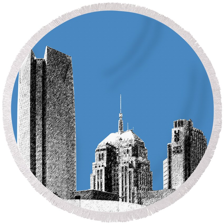Architecture Round Beach Towel featuring the digital art Oklahoma City Skyline - Slate by DB Artist