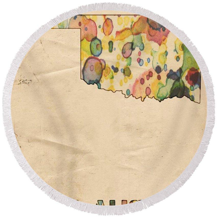 Oklahoma Round Beach Towel featuring the painting Oklahoma Map Vintage Watercolor by Florian Rodarte