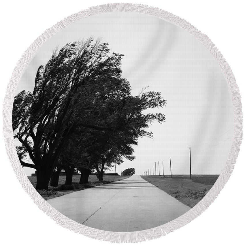 66 Round Beach Towel featuring the photograph Oklahoma Route 66 2012 Bw by Frank Romeo