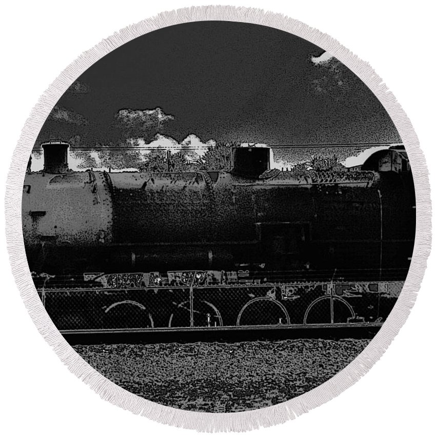 Keri West Round Beach Towel featuring the photograph Ol Fort Pierce Rail by Keri West