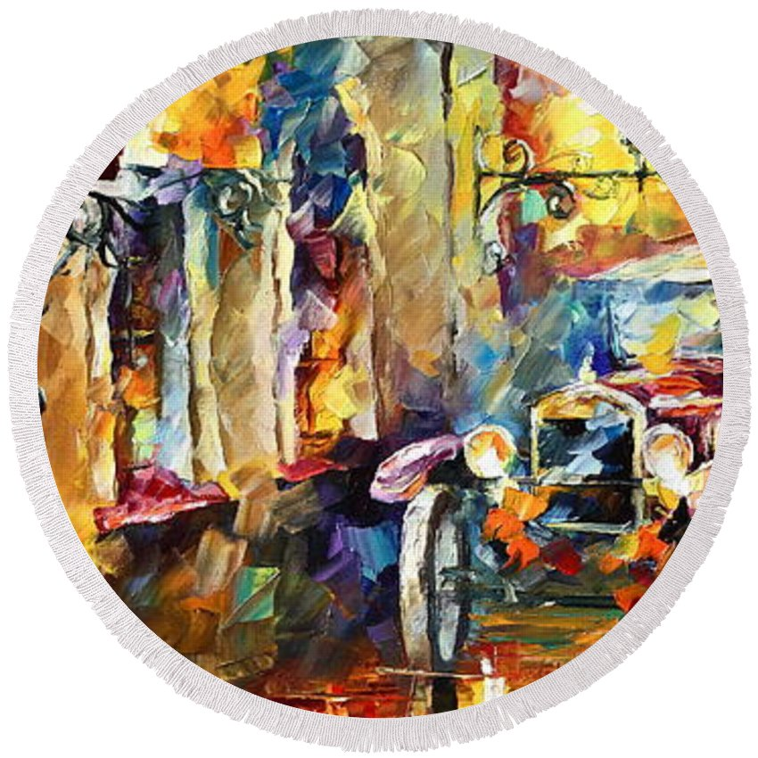 Afremov Round Beach Towel featuring the painting Old Alleyway by Leonid Afremov
