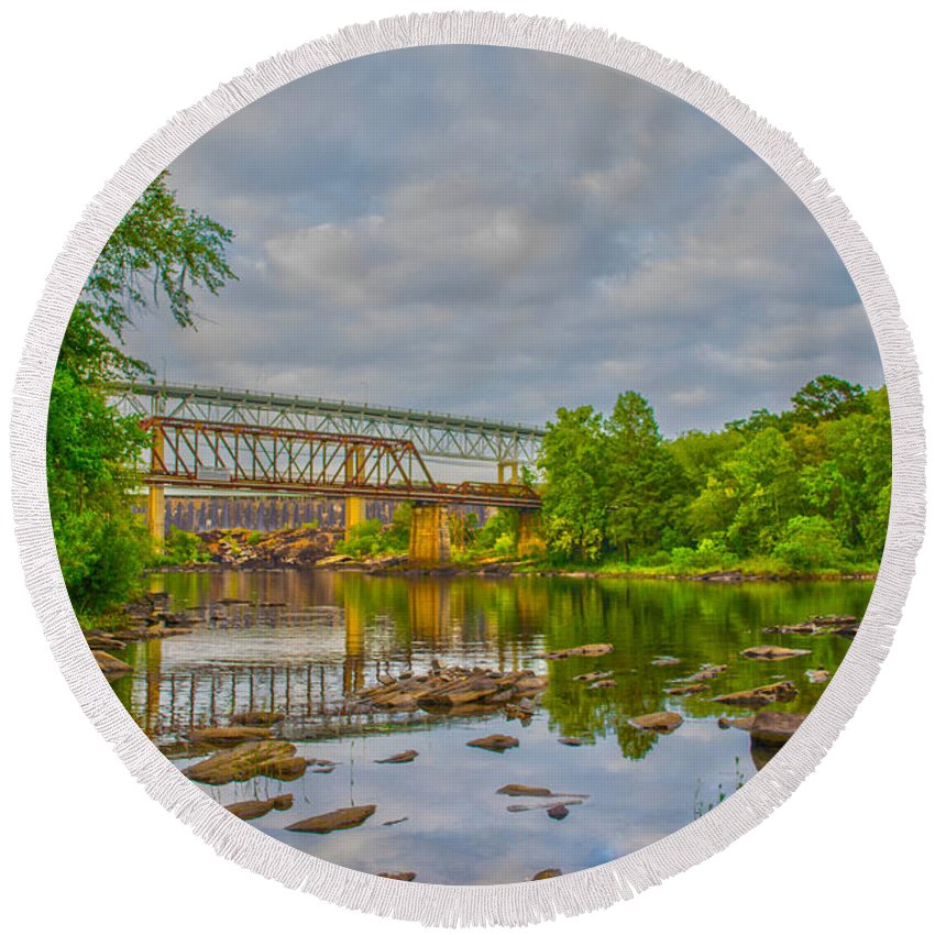 Bridges Round Beach Towel featuring the photograph Old And New Bridges by Shannon Harrington