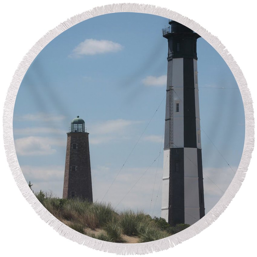 Lighthouse Round Beach Towel featuring the photograph Old And New Cape Henry Lights Together by Christiane Schulze Art And Photography