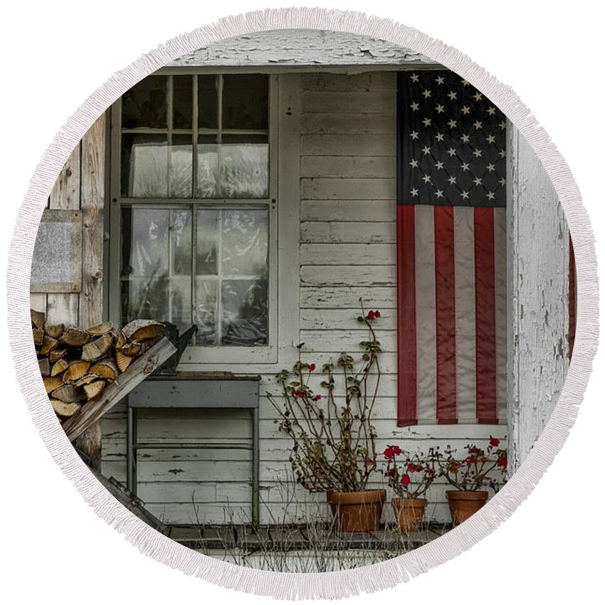 Flag Round Beach Towel featuring the photograph Old Apple Orchard Porch by Erika Fawcett