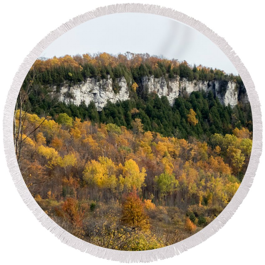 Landscape Round Beach Towel featuring the photograph Old Baldy In Fall by Richard Kitchen