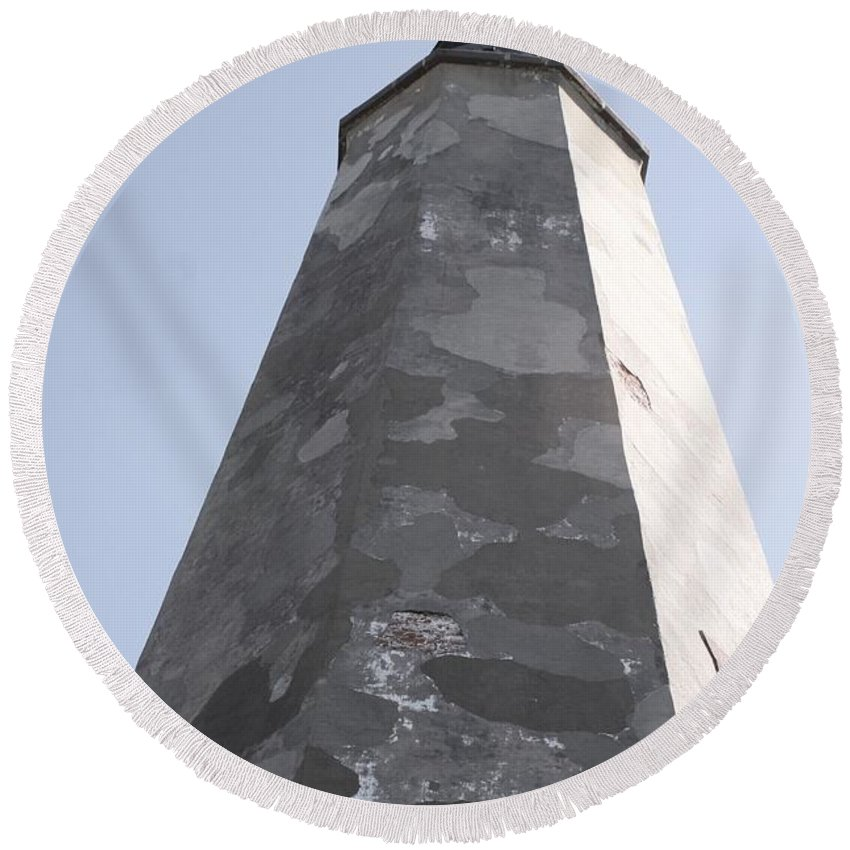 Lighthouse Round Beach Towel featuring the photograph Old Baldy Lighthouse Nc by Nadine Rippelmeyer