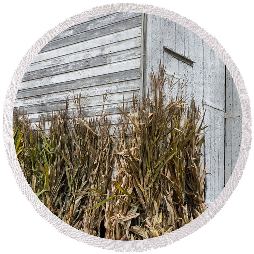 Old Round Beach Towel featuring the photograph Old Barn And Cornstalks by Photographic Arts And Design Studio