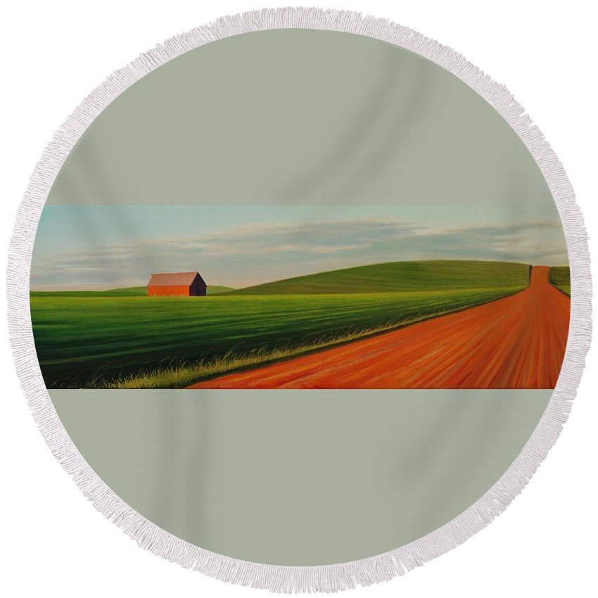 Landscape Round Beach Towel featuring the painting Old Barn at Sunset by Leonard Heid