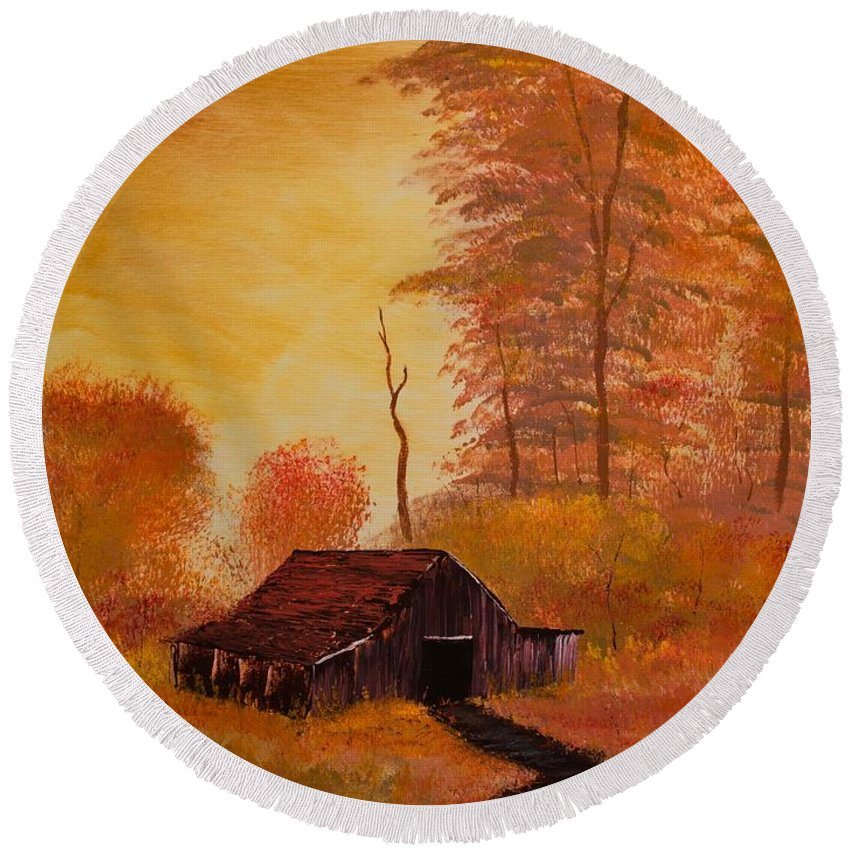 Barn Round Beach Towel featuring the painting Old Barn In Autumn by Shannon Wells
