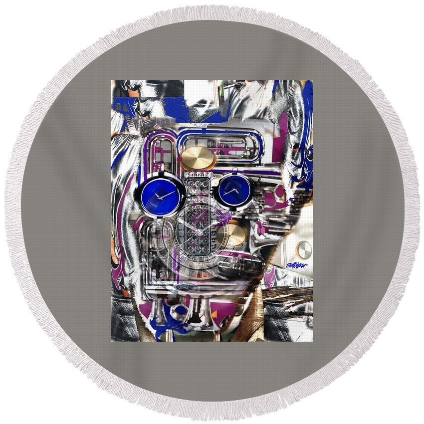 Robotic Time Traveller Round Beach Towel featuring the digital art Old Blue Eyes by Seth Weaver