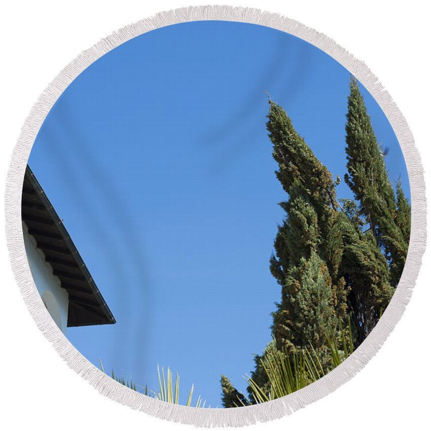 Building Round Beach Towel featuring the photograph Old Building And Trees by Mats Silvan