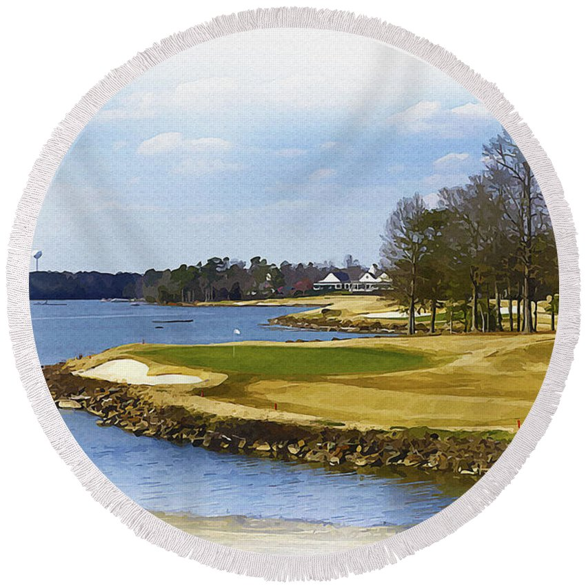 Canada Round Beach Towel featuring the digital art Old Carolina Golf Club by Don Kuing
