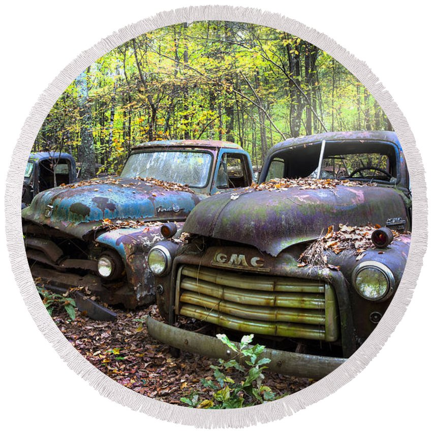 1950 Round Beach Towel featuring the photograph Old Cars by Debra and Dave Vanderlaan