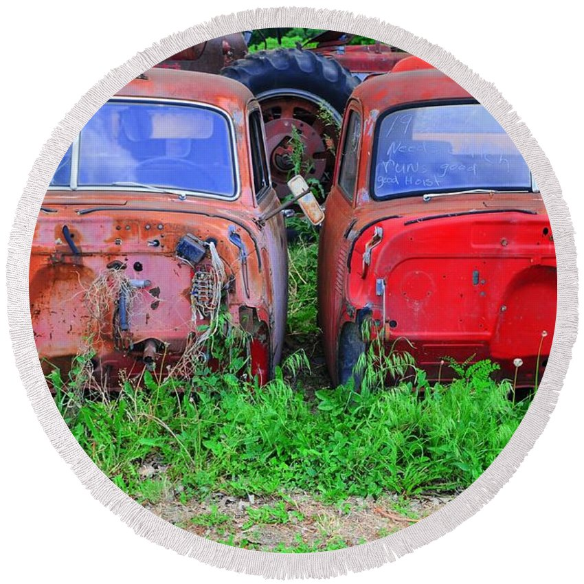 Old Round Beach Towel featuring the photograph Old Cars by Kathleen Struckle