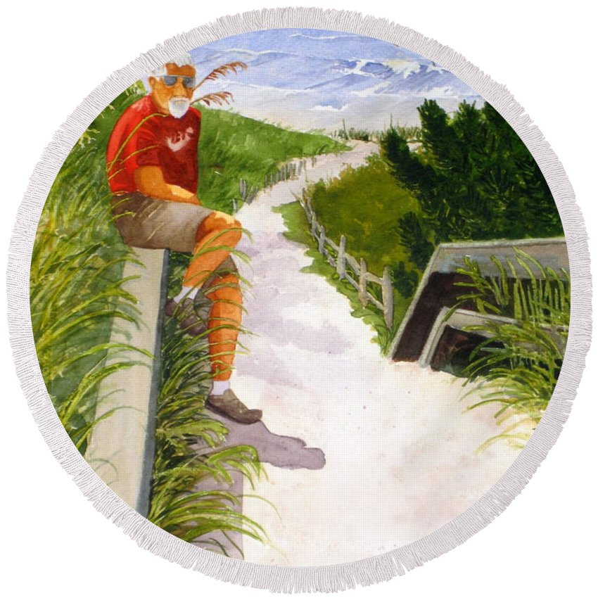 Ocean Round Beach Towel featuring the painting Old Codger On Beach by Julia RIETZ