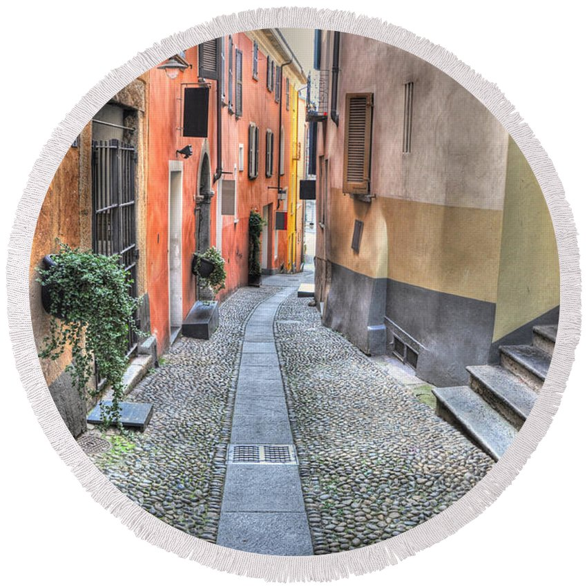 Alley Round Beach Towel featuring the photograph Old Colorful Stone Alley by Mats Silvan
