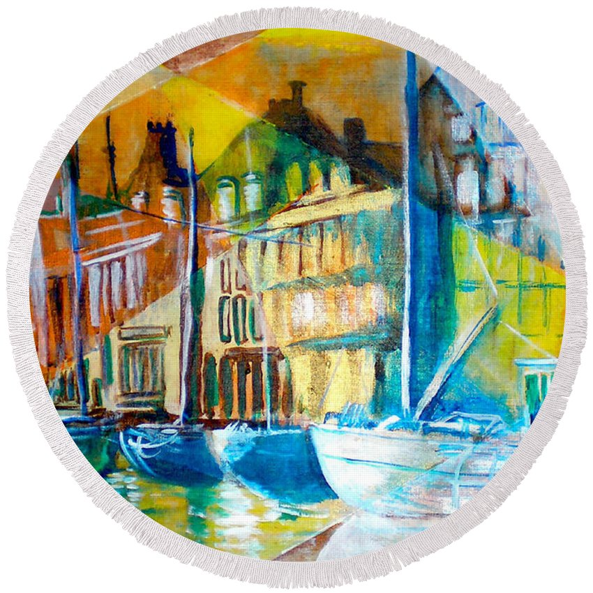 Old World Street Round Beach Towel featuring the painting Old Copenhagen Thru Stained Glass by Seth Weaver