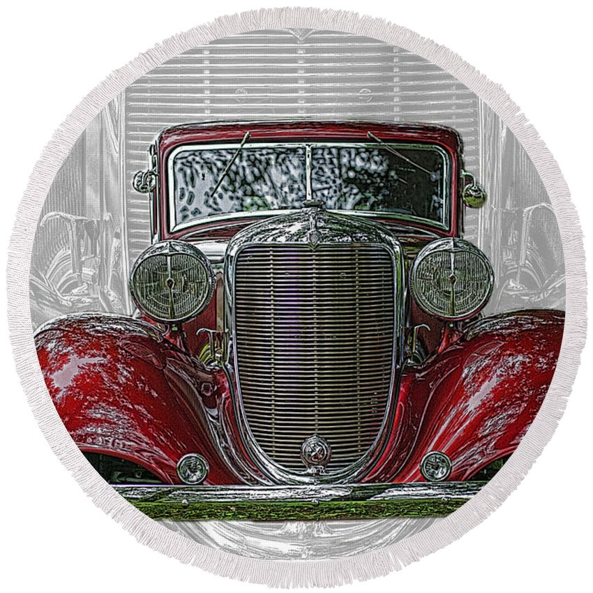Cars Round Beach Towel featuring the photograph Old Desoto by Randy Harris