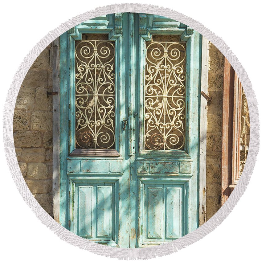 Architecture Round Beach Towel featuring the photograph Old Door In Jersusalem Israel by Jacek Malipan