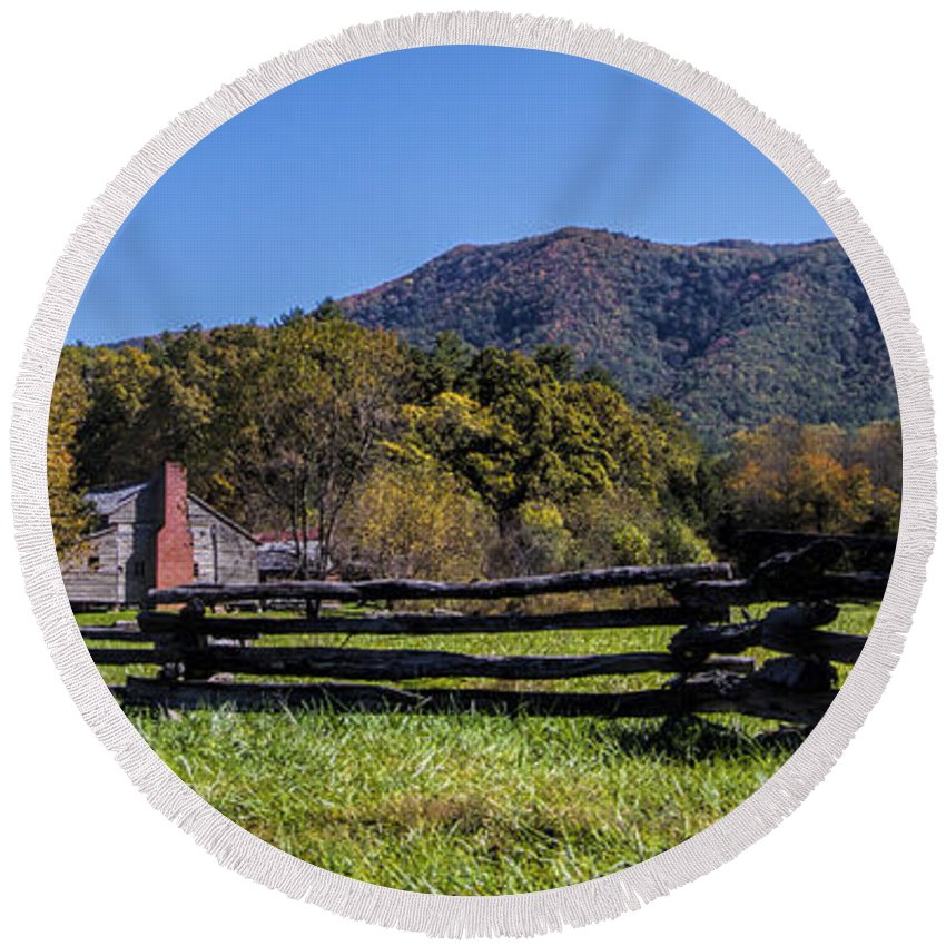 Old Round Beach Towel featuring the photograph Old Farm House At Cades Cove by Kathy Clark