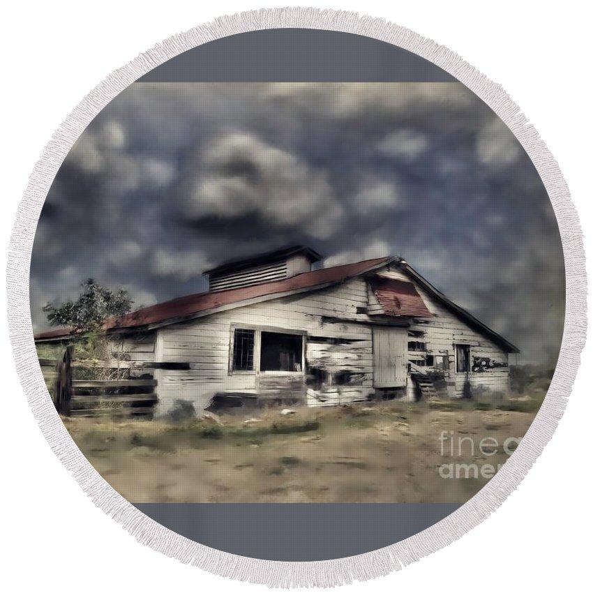 Old Round Beach Towel featuring the photograph Old Farm by Savannah Gibbs