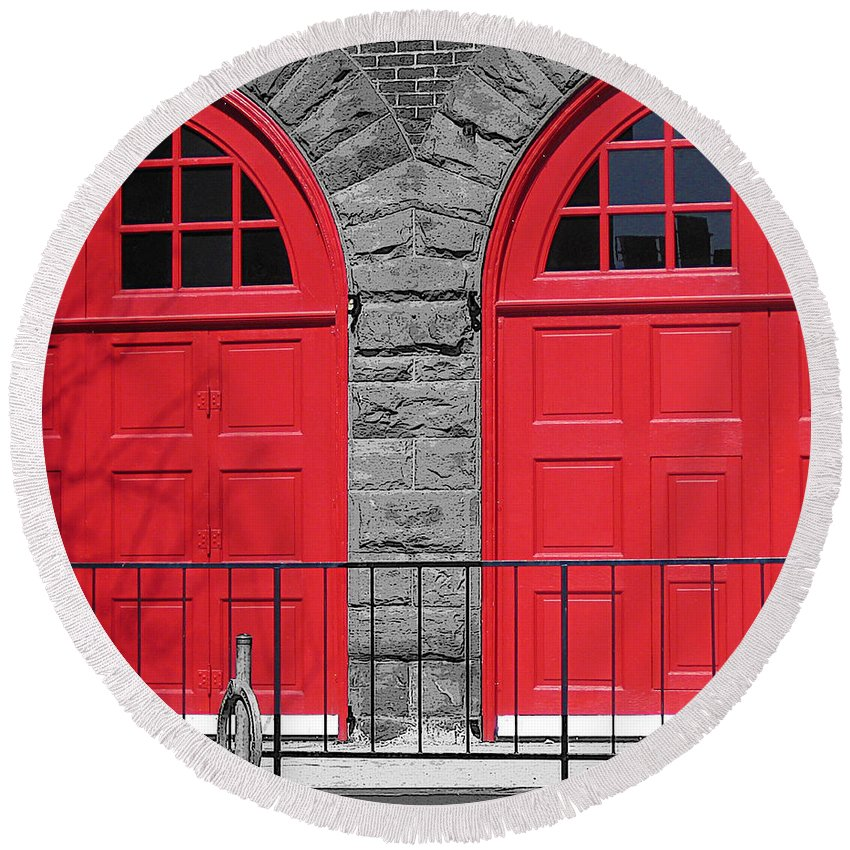Doors Round Beach Towel featuring the photograph Old Fire Hall Doors by Nina Silver