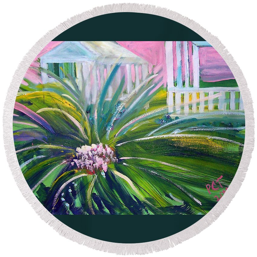 Landscape Round Beach Towel featuring the painting Old Florida by Patricia Taylor