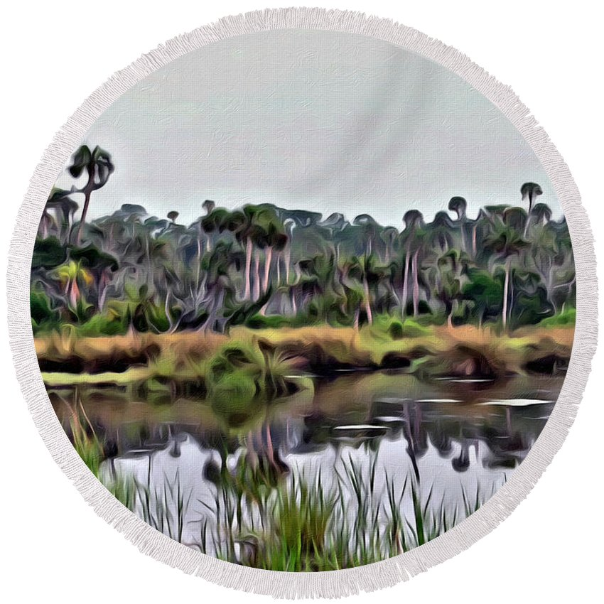 Florida Swamp Scenic Round Beach Towel featuring the photograph Old Florida Waterway by Alice Gipson