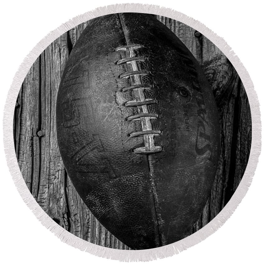 Old Round Beach Towel featuring the photograph Old Football by Garry Gay