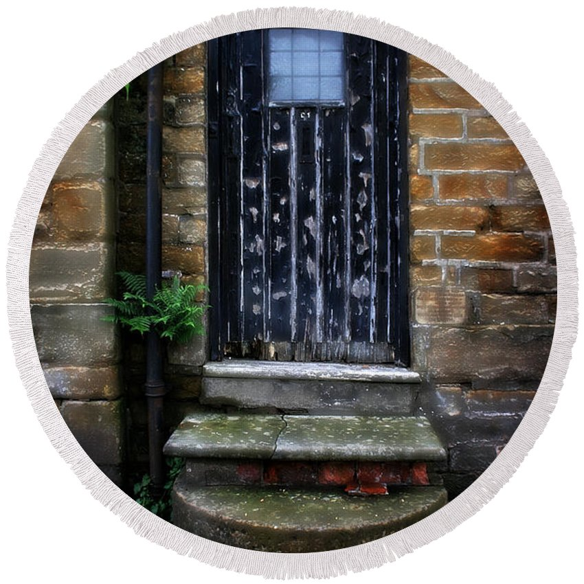 Garden Round Beach Towel featuring the photograph Old Forgotten Black Front Door by Doc Braham