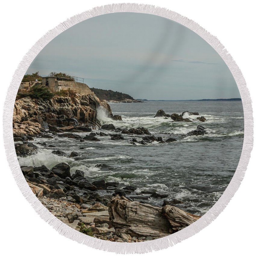 Ocean Round Beach Towel featuring the photograph Old Fort by Jane Luxton