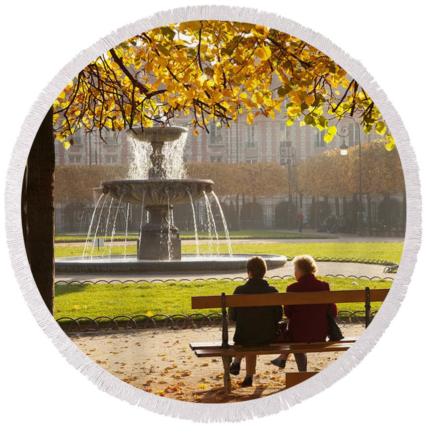 Architectural Round Beach Towel featuring the photograph Old Friends by Brian Jannsen