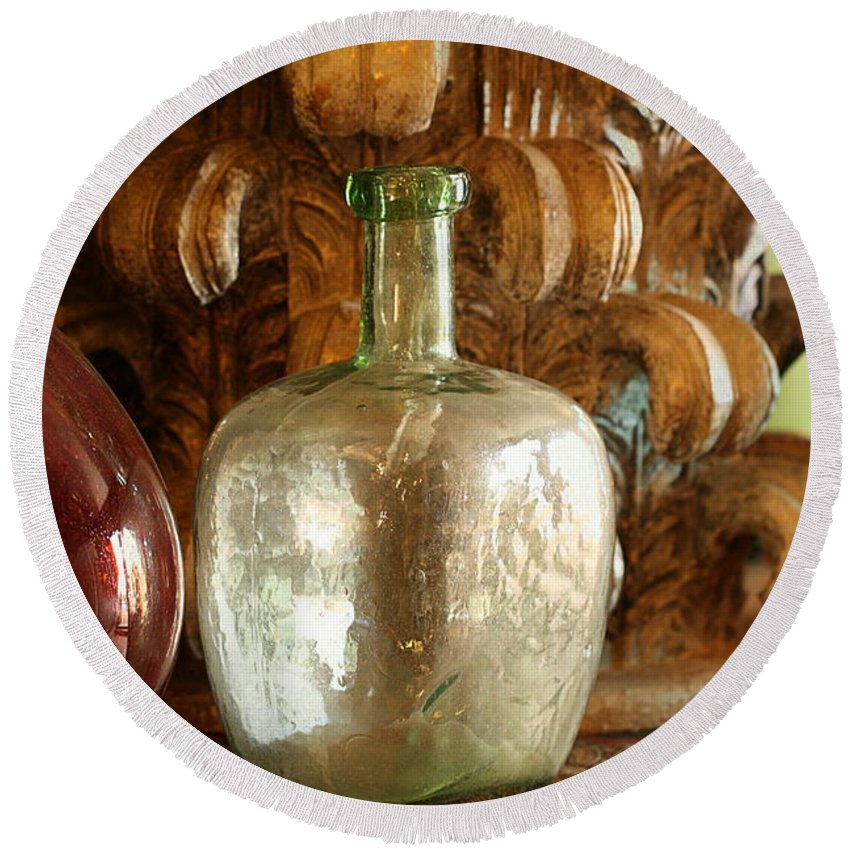 Old Glassware Round Beach Towel featuring the photograph Old Glassware by Terry Fleckney