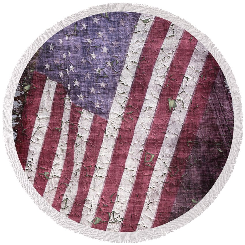 Flag Round Beach Towel featuring the photograph Old Glory  Peeling Paint by Debbie Portwood
