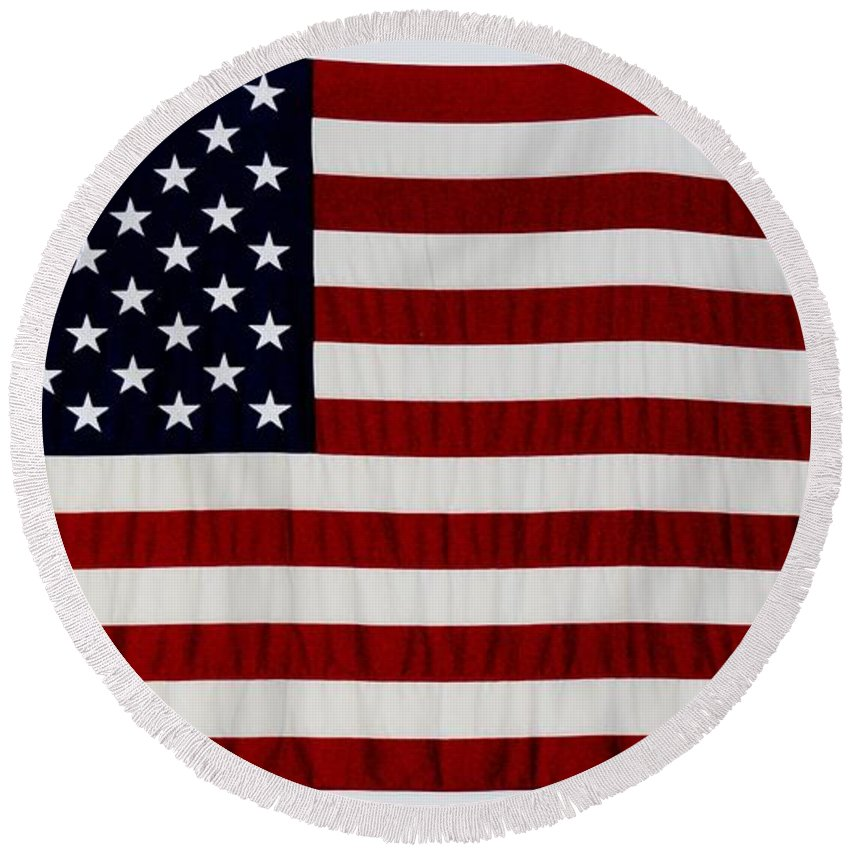 Americana Round Beach Towel featuring the photograph Old Glory by Rob Hans