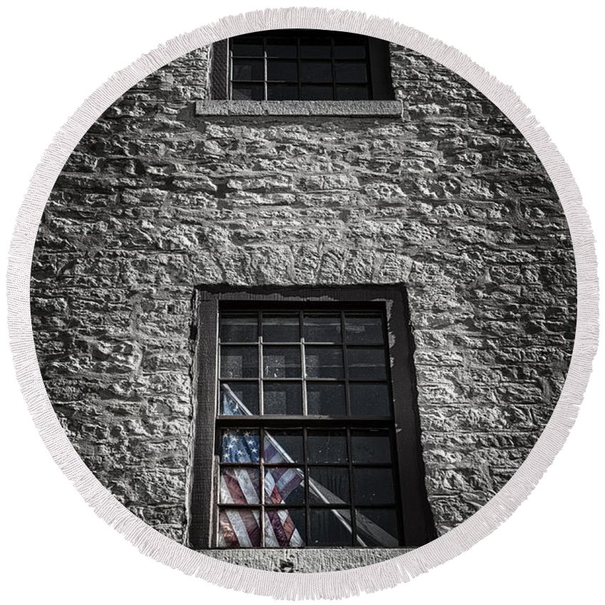 Brick Round Beach Towel featuring the photograph Old Glory by Scott Norris
