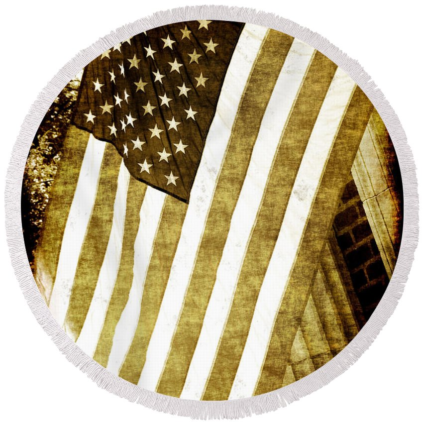 Flag Round Beach Towel featuring the photograph Old Glory Sepia Rustic by Debbie Portwood