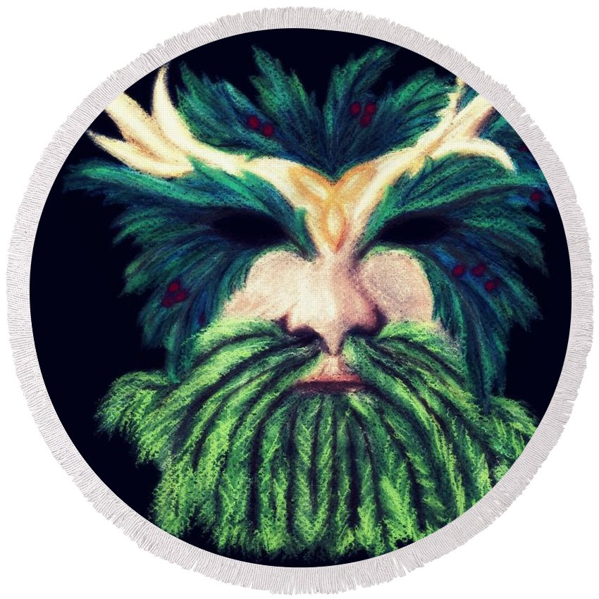 Green Man Pastel Round Beach Towel featuring the pastel Old Green Man Winter by Kitrina Arbuckle