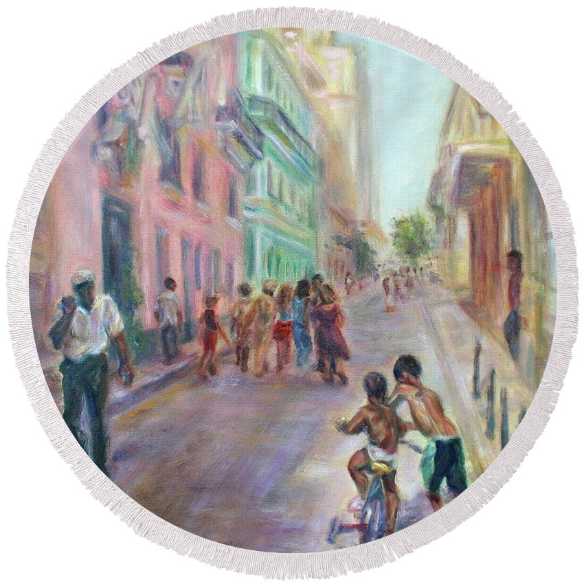 Impressionism Round Beach Towel featuring the painting Old Havana Street Life - Sale - Large Scenic Cityscape Painting by Quin Sweetman