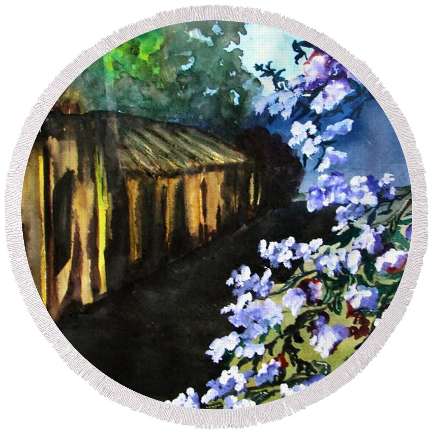 Flowers Round Beach Towel featuring the painting Old House And New Flowers by Lil Taylor
