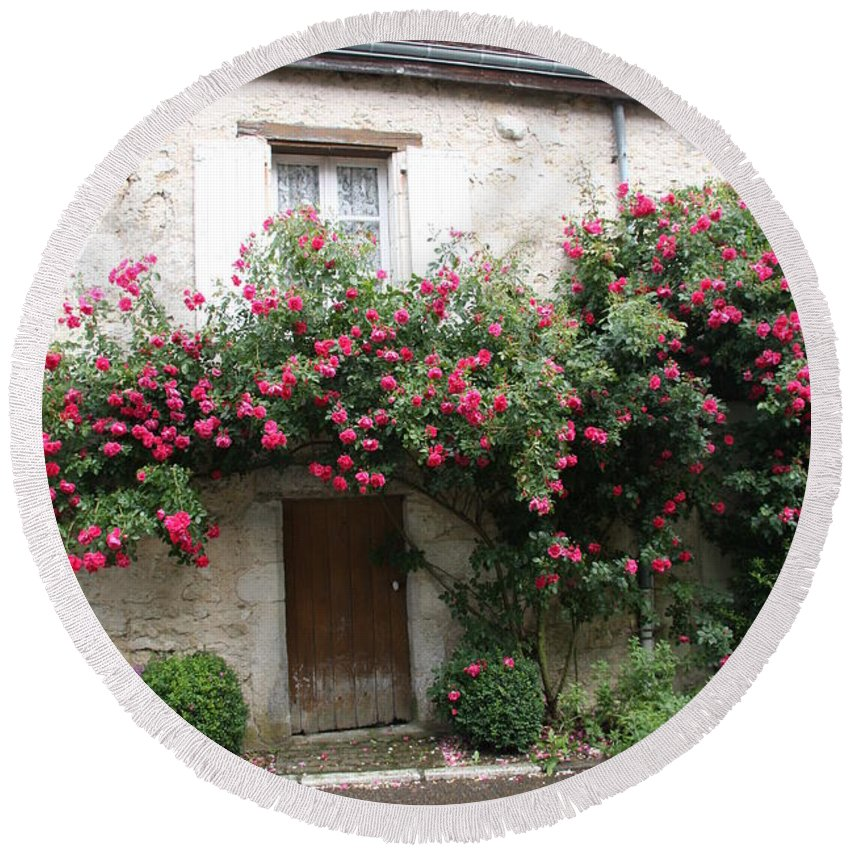 Rose Round Beach Towel featuring the photograph Old House Covered With Roses by Christiane Schulze Art And Photography