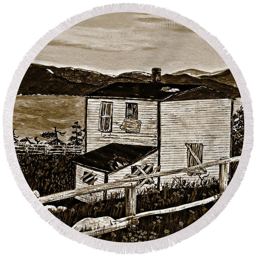 Sepia Old House Round Beach Towel featuring the painting Old House In Sepia by Barbara Griffin