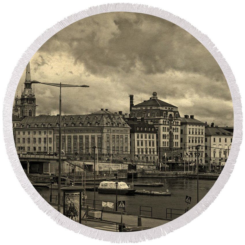 Old In Memory But Modern Copenhagen Round Beach Towel featuring the photograph Old In Memory But Modern Copenhagen by Angela Stanton