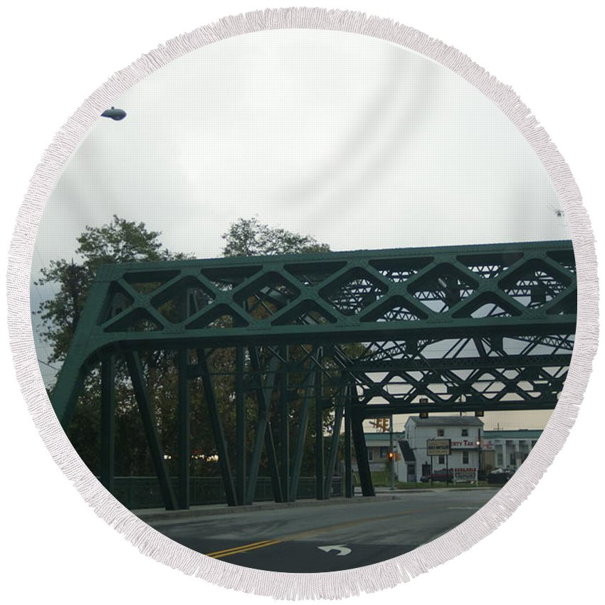 Old Round Beach Towel featuring the photograph Old Iron Bridge by Rob Luzier
